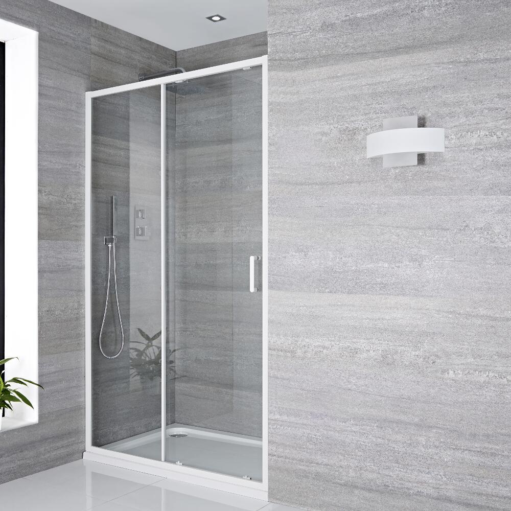 Schiebetür Dusche 1200mm Weiß - Lux