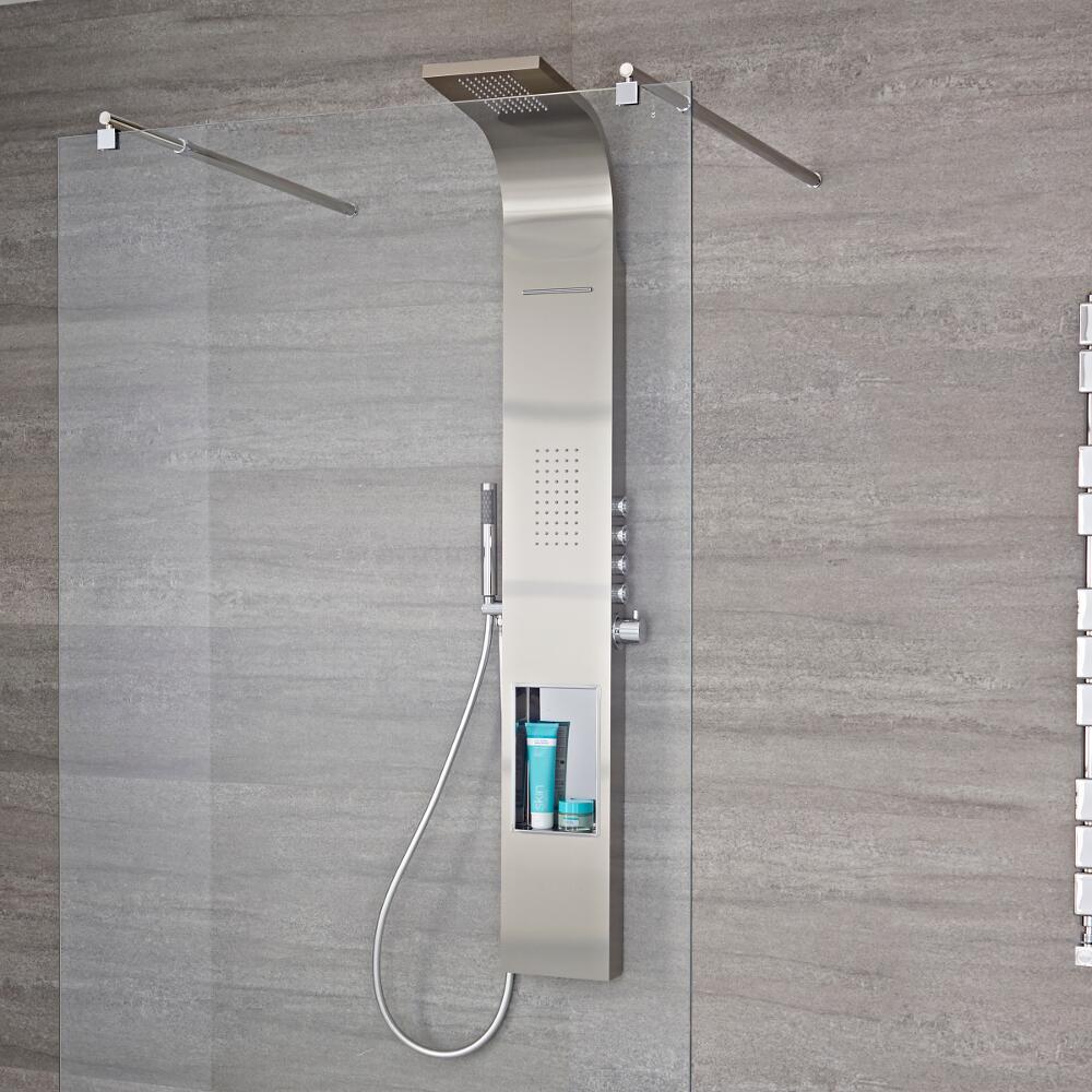 Duschpaneel mit Regal, 4 Funktionen & Push-Knöpfen an der Seite in gebürstetem Stahl - Vista