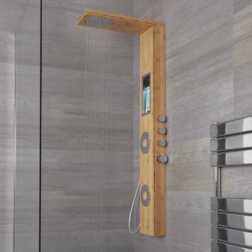 Duschpaneel mit Regal & Düsen, 3 Funktionen aus Bambus - Lako