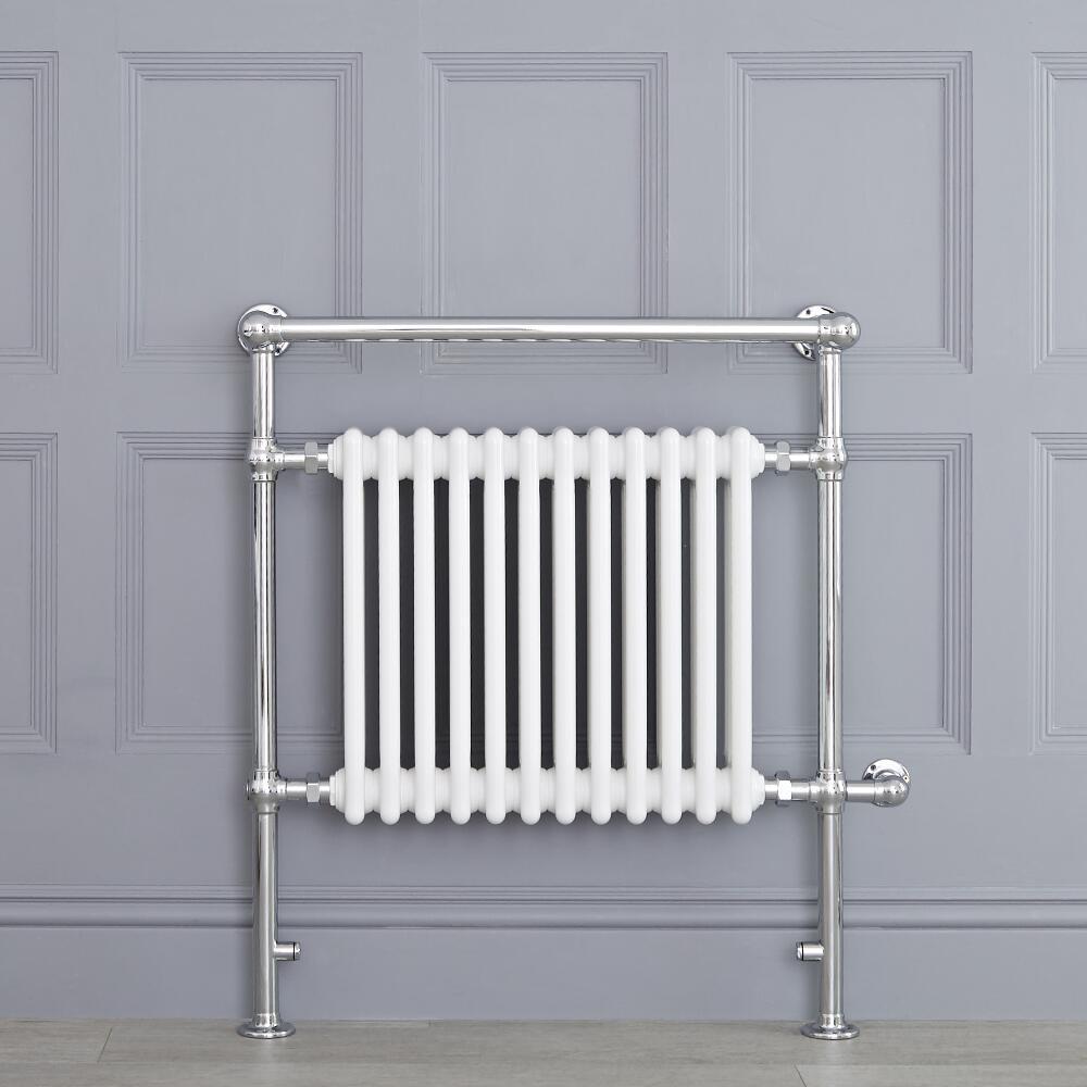Avon elektrisch - Weißer traditioneller Handtuchheizkörper 930mm x 790mm x 230mm mit 800W Heizstab