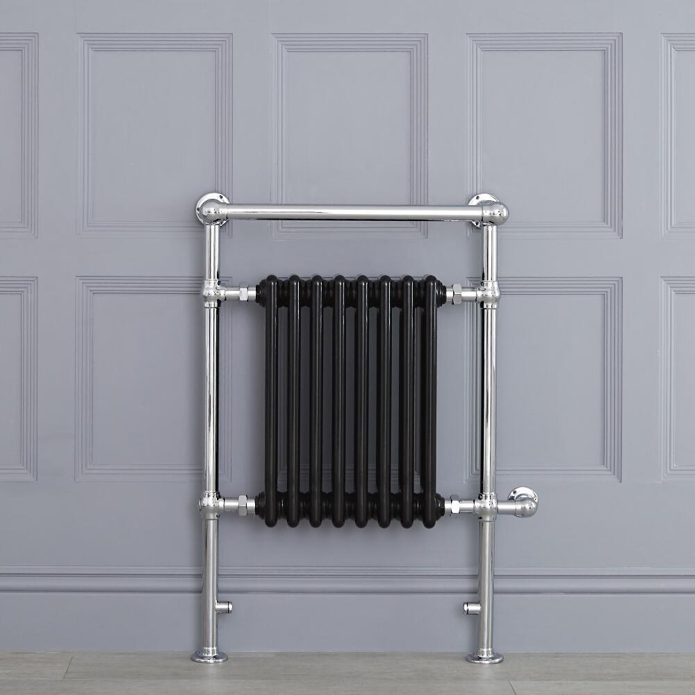 Avon elektrisch - Schwarzer traditioneller Handtuchheizkörper  930mm x 620mm x 230mm mit 600W Heizstab