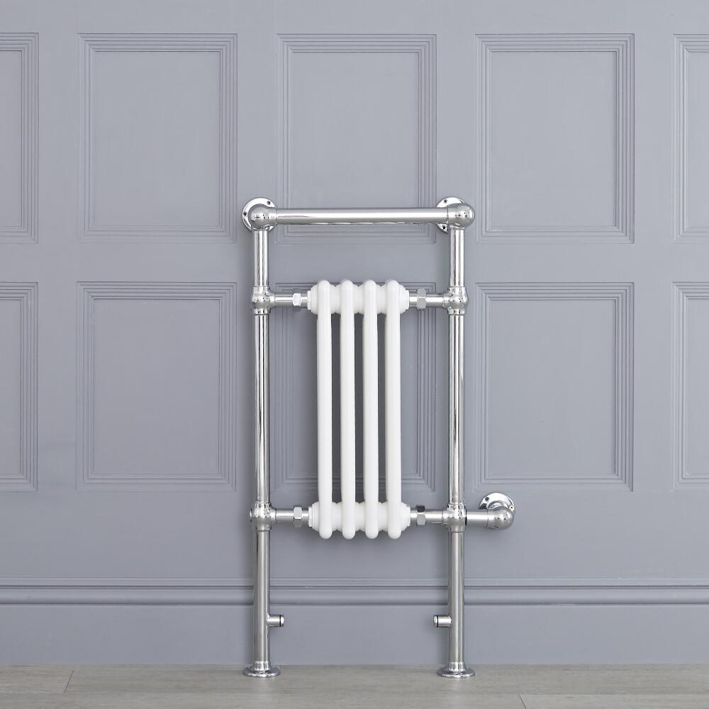 Weißer traditioneller Handtuchheizkörper, elektrisch, 930mm x 452mm x 230mm mit 400W Heizstab - Elizabeth
