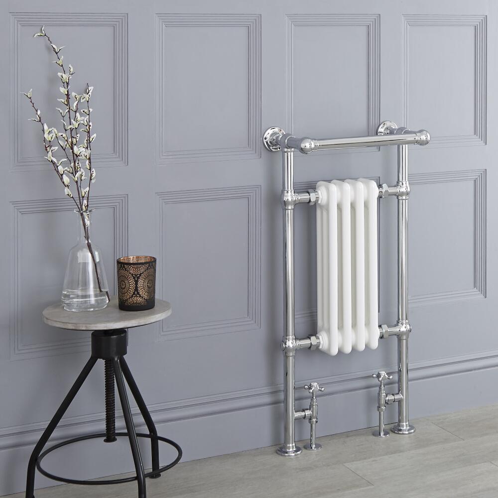 Avon - Weißer traditioneller Handtuchheizkörper - 930mm x 452mm x 230mm