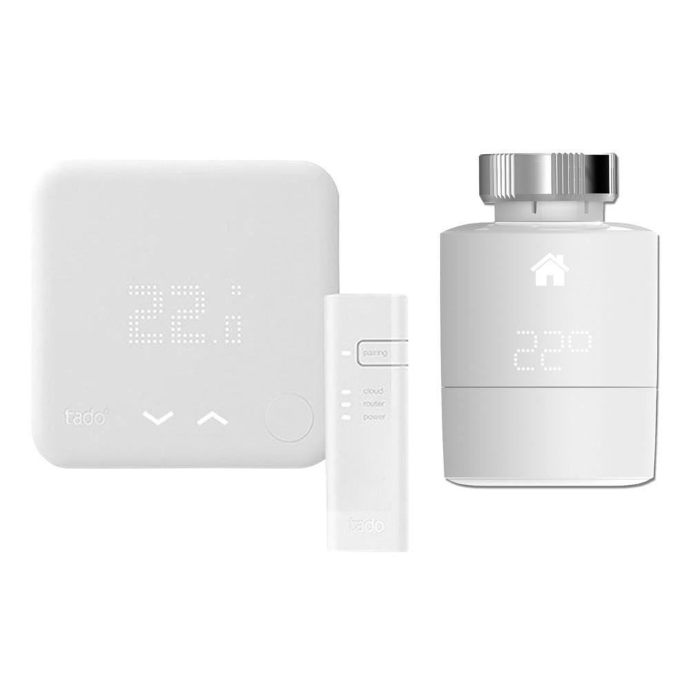 Smartes Thermostat Starter Set inkl. 2x Smarte Heizkörperventile Horizontal - Tado°