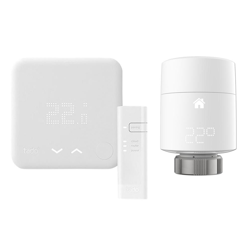 Smartes Thermostat Starter Set inkl. 2x Smarte Heizkörperventile Vertikal - Tado°