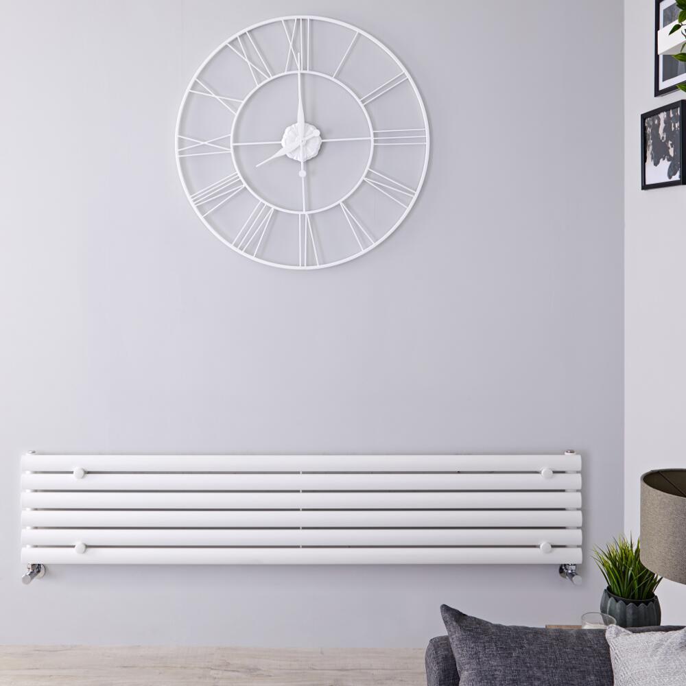 Design Heizkörper Horizontal Einlagig Weiß 354mm x 1780mm 888W - Revive