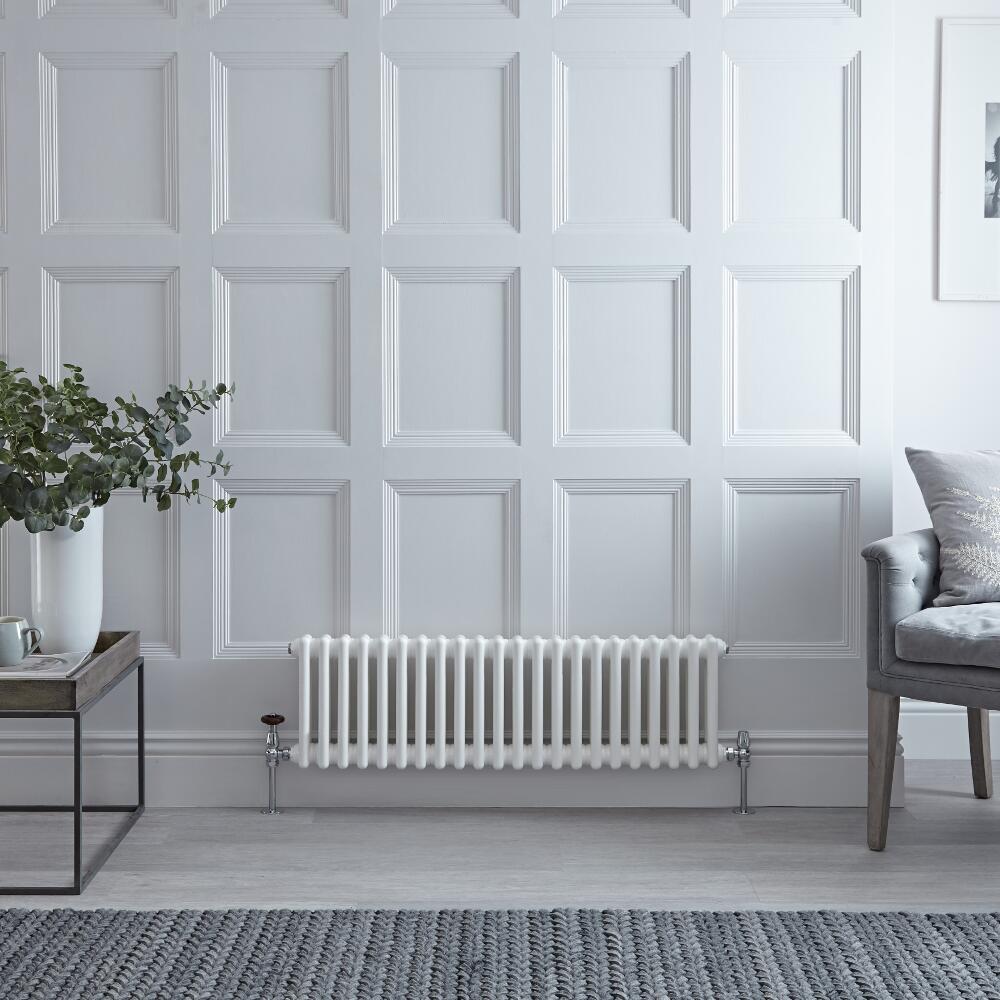 Gliederheizkörper Horizontal 2 Säulen Nostalgie Weiß 300mm x 1010mm 700W - Regent