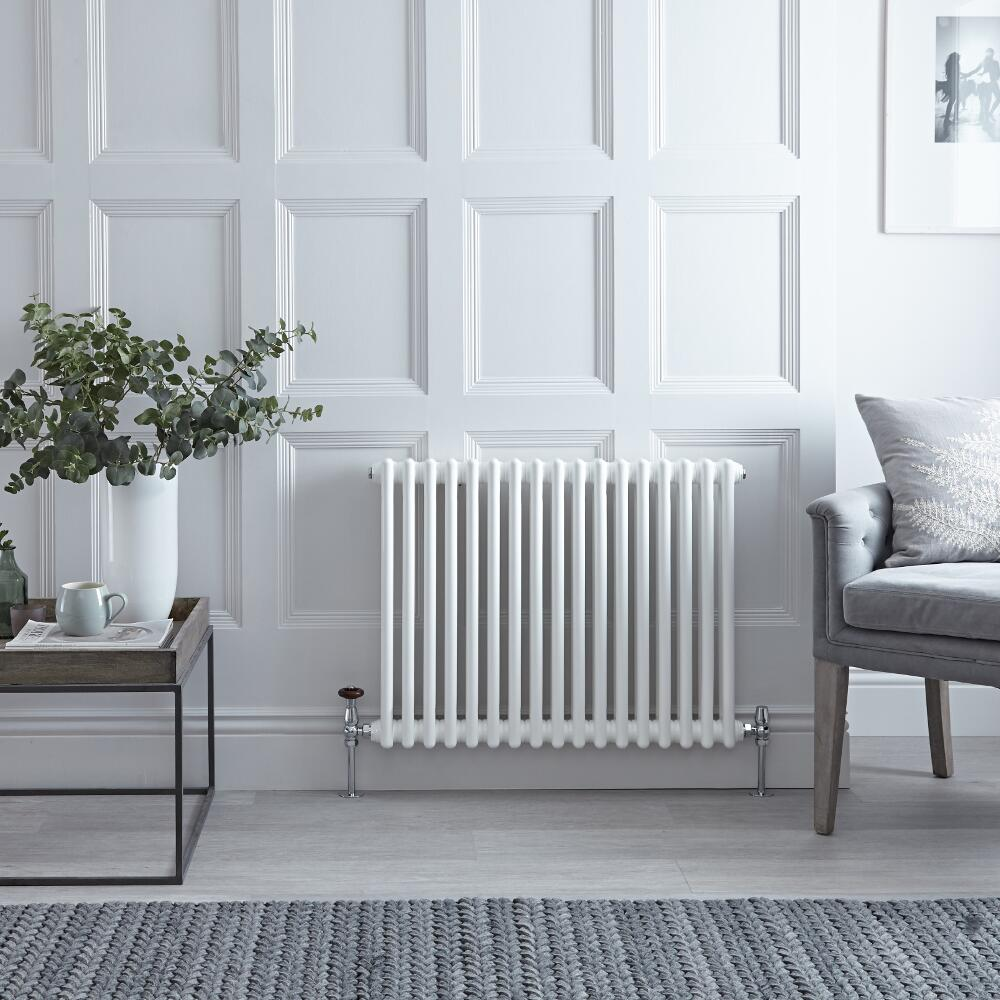Gliederheizkörper Horizontal 2 Säulen Nostalgie Weiß 600mm x 785mm 964W - Regent
