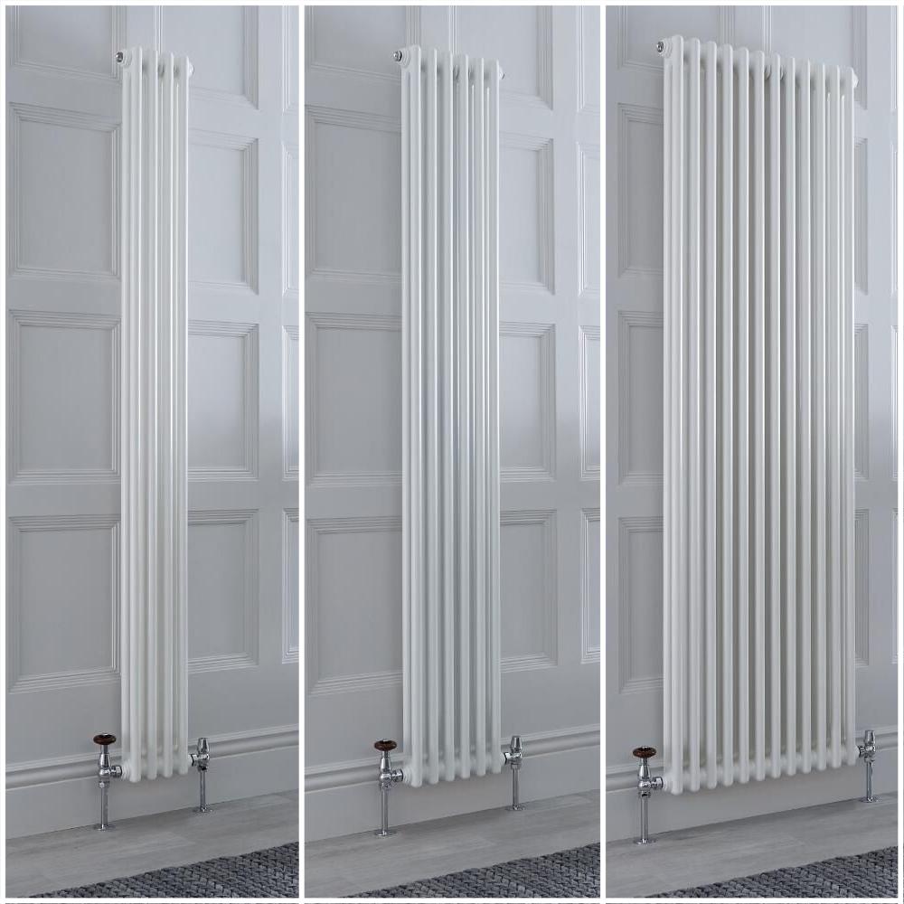 Traditioneller Gliederheizkörper Vertikal 2-lagig Weiß, Größe und Füße Wählbar - Regent