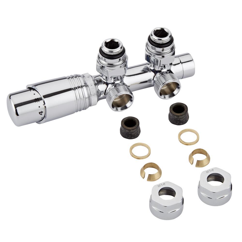 Hahnblock Heizkörperwinkelventil Manuell & thermostatisch Chrom/Weiß inkl. Multiadapter für 14mm Kupferrohre im Set