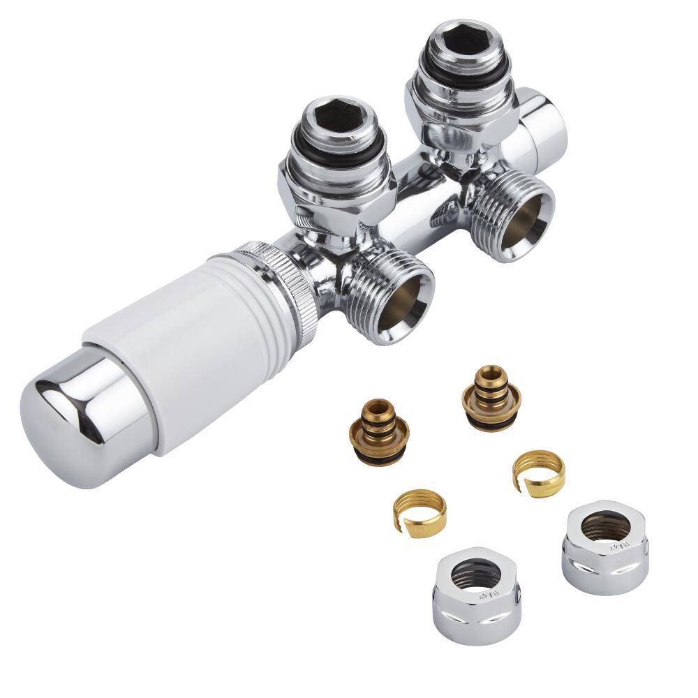 Hahnblock Heizkörperwinkelventil Manuell & thermostatisch Weiß inkl. Multiadapter für 16mm Multiverbundrohre im Set