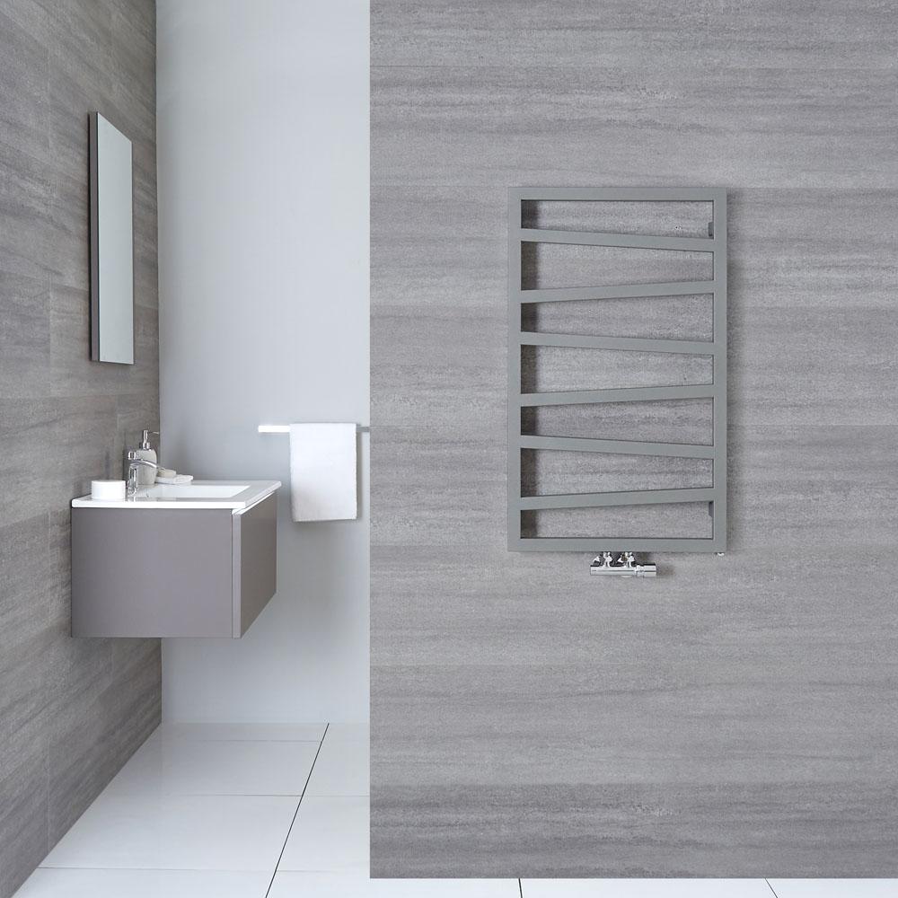 Handtuchheizkörper Vertikal Mittelanschluss Silber 835mm x 500mm - Torun