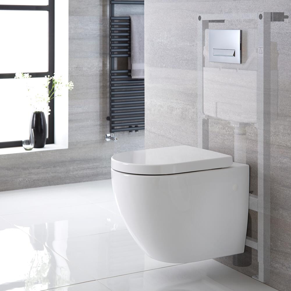 Hänge WC Oval inkl. Unterputzspülkasten 1150mm x 500mm und wählbarer Betätigungsplatte - Ashbury