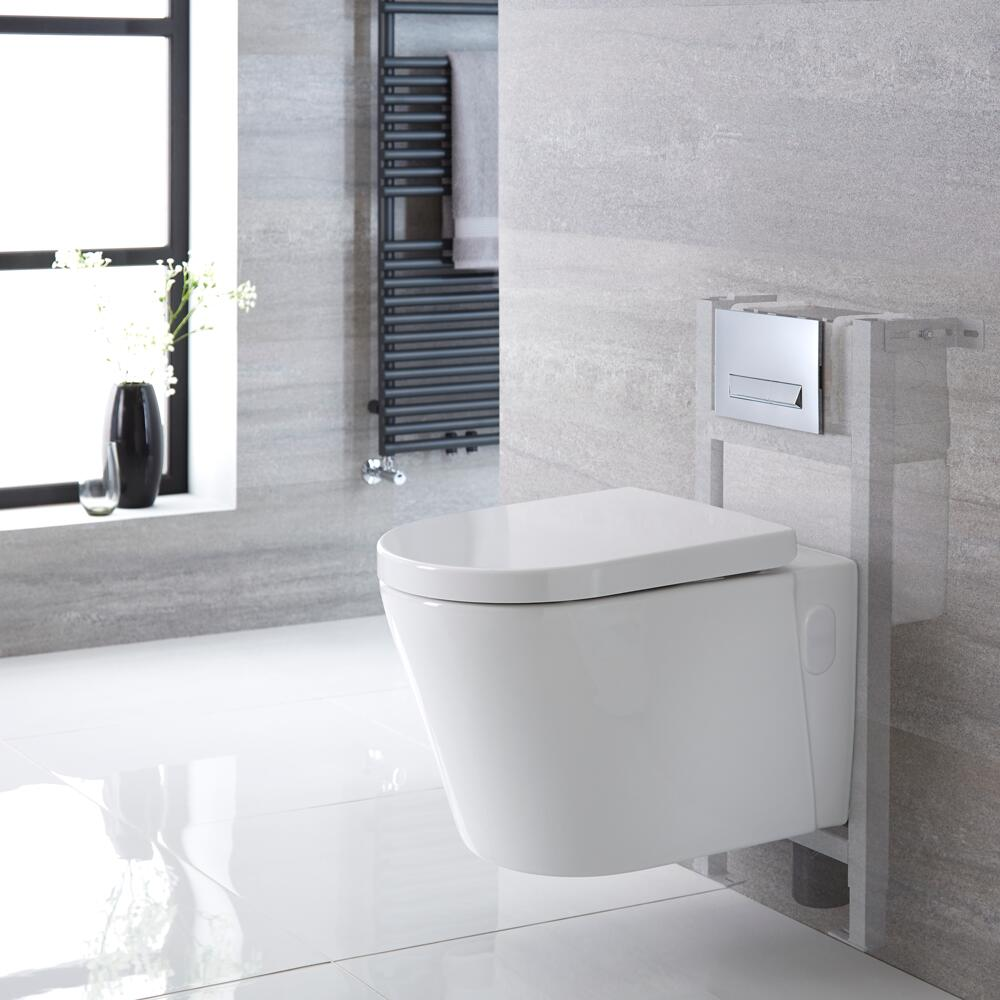 Hänge WC Oval inkl. Unterbauspülkasten 820mm x 400mm und wählbarer Betätigungsplatte - Exton