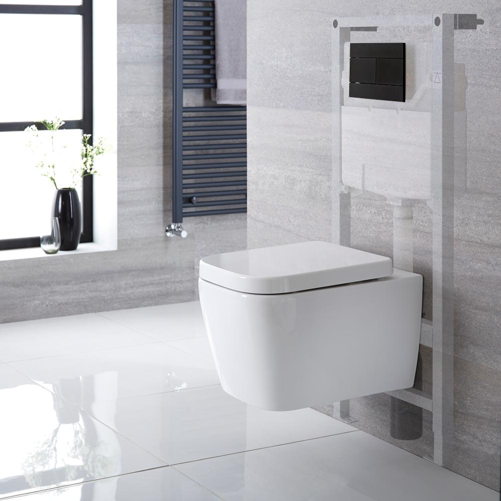 Hänge WC Quadratisch mit Unterputzspülkasten & wählbarer Betätigungsplatte - Milton
