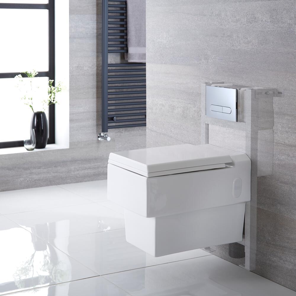 Hänge WC Quadratisch mit Unterbauspülkasten für Verkleidung & wählbarer Betätigungsplatte - Haldon
