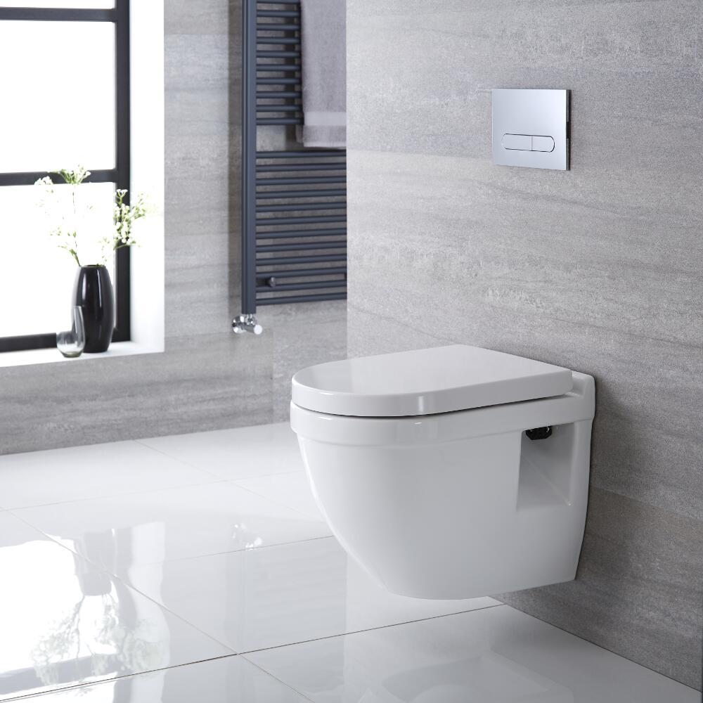 Hänge WC Oval mit Unterputzspülkasten & wählbarer Betätigungsplatte - Belstone