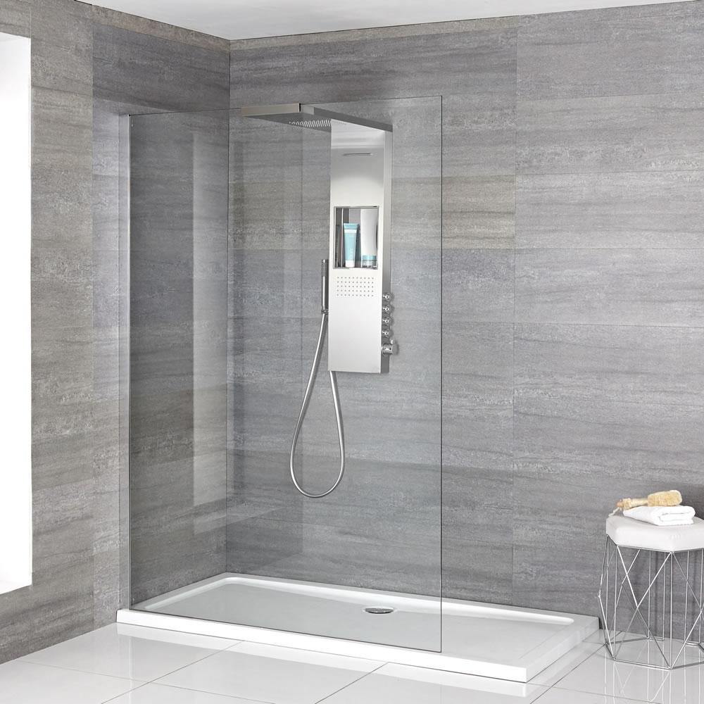 Iko - Komplette Walk-In Dusche mit Slim Line Duschwanne & glashaltendem Duschpaneel