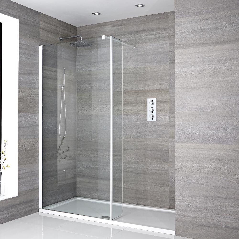 Walk-In Duschwand 1600mm x 800mm mit Seitenteil & Duschtasse - Lux