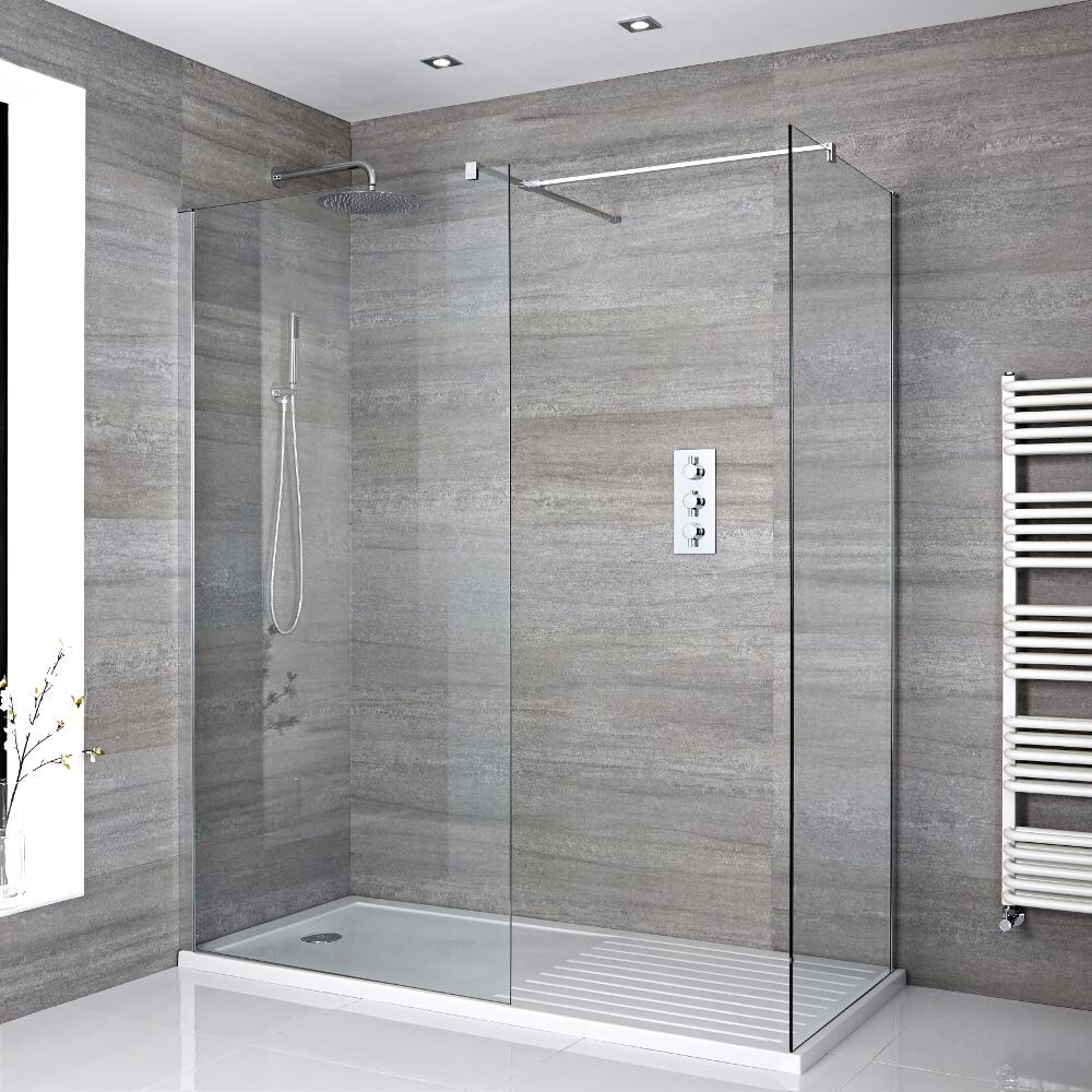 2 Walk-In Duschwände 800mm/ 900mm inkl. 1400mm x 900mm Duschtasse mit Trocknungsbereich - Portland