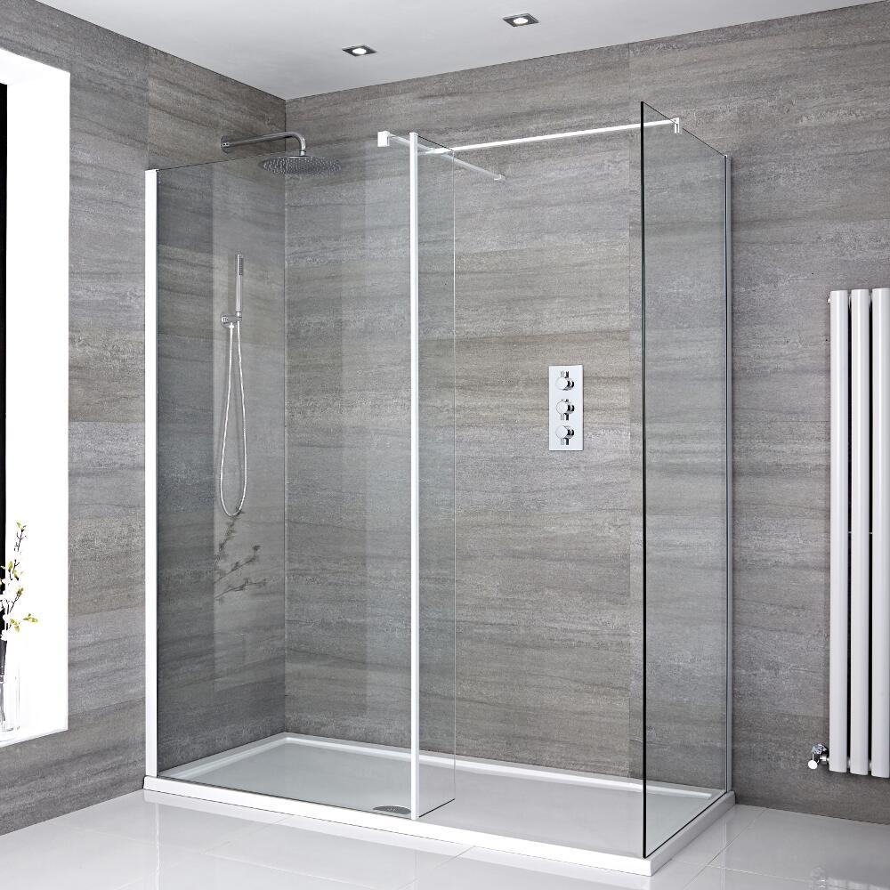 2 Walk-In Duschwände 800mm/ 1000mm inkl. 1700mm x 800mm Duschtasse, Seitenteil & weißes Profil- Lux