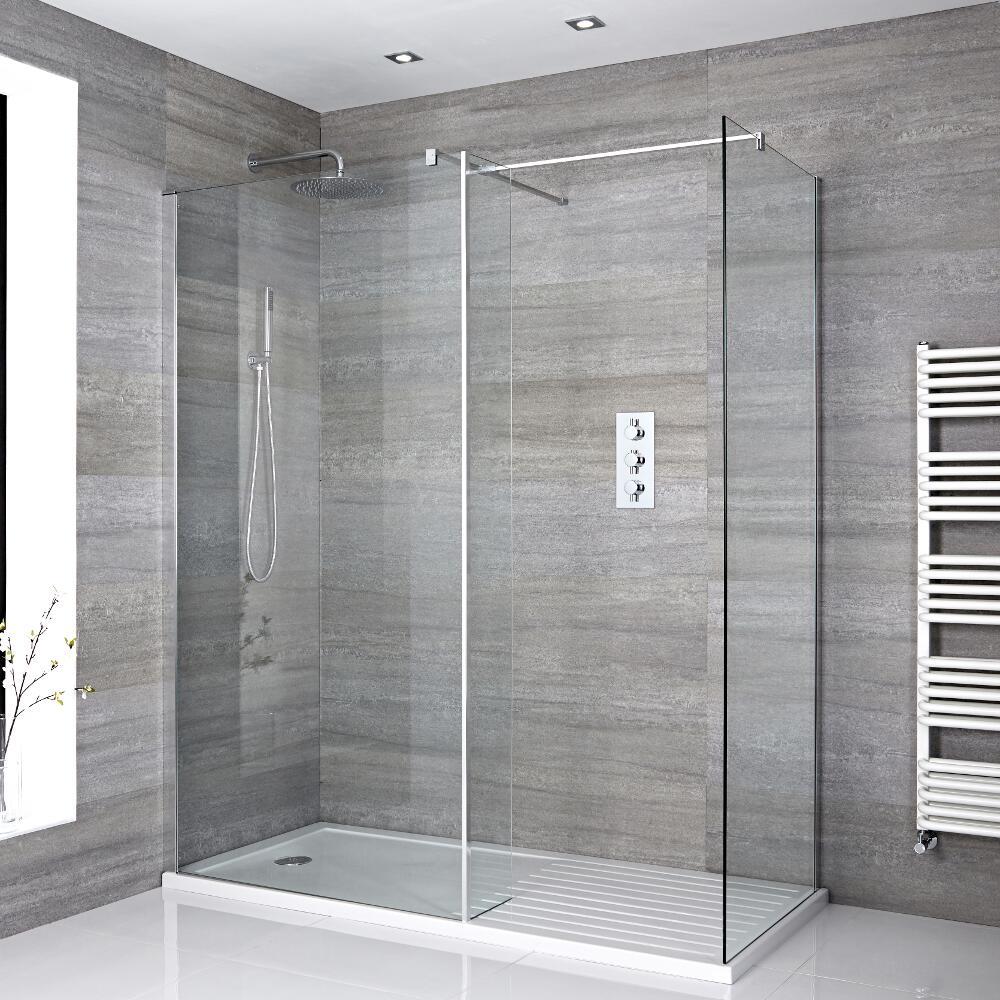 2 Walk-In Duschwände 800/900mm inkl. 1400mm x 900mm Duschtasse mit Trocknungsbereich & Seitenteil - Portland