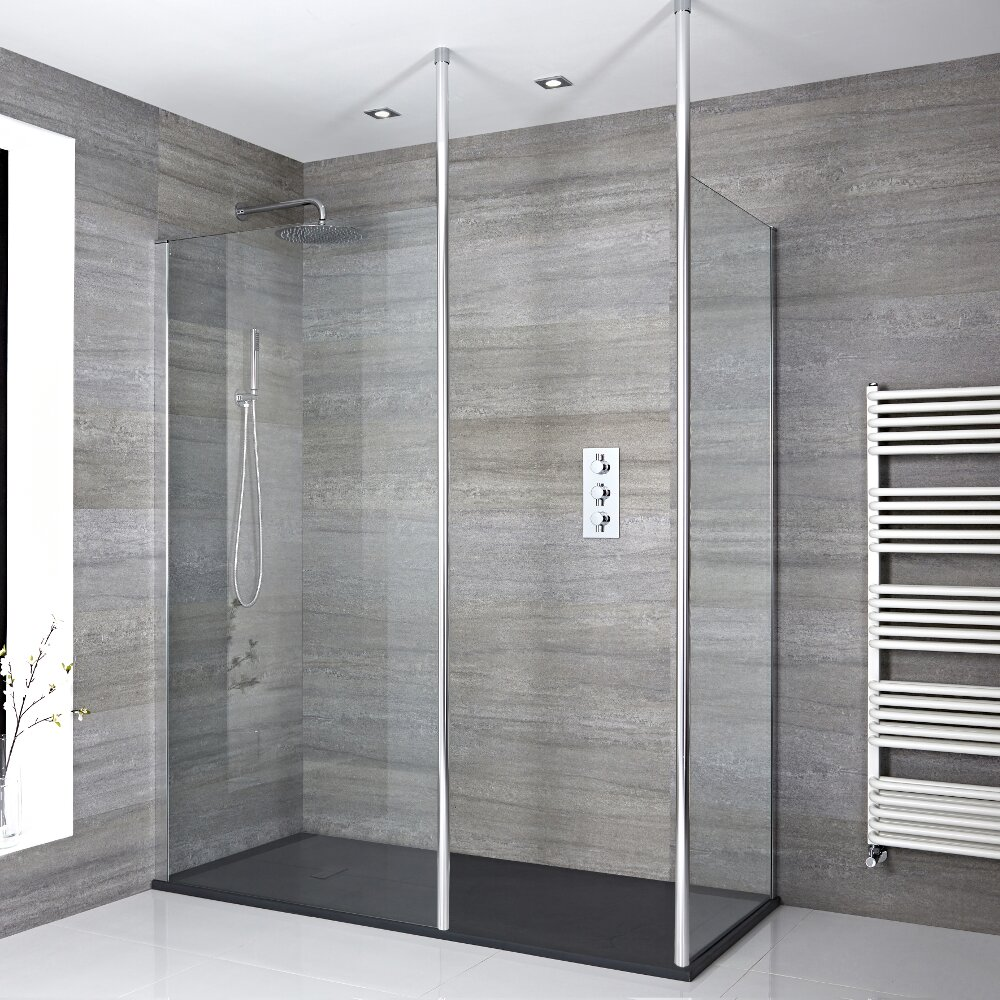 2 Walk-In Duschwände inkl. 2x Duschwandhaltestangen & 1400mm x 900mm Anthrazit Duschtasse - Sera