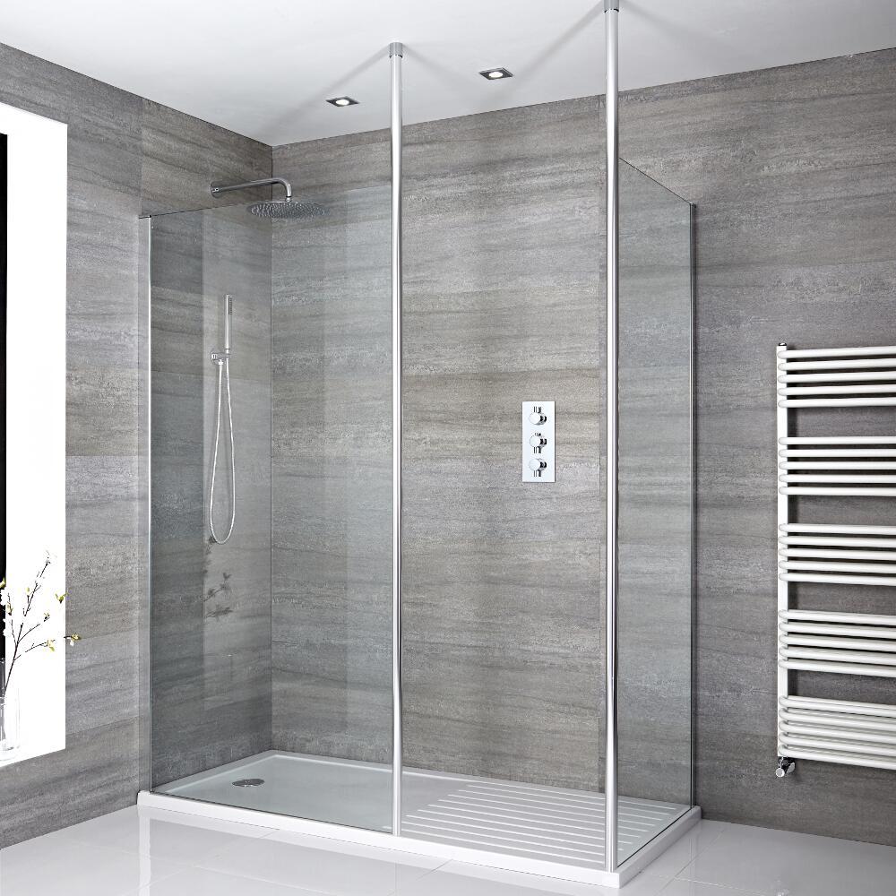 2 Walk-In Duschwände 800/1000mm inkl. 1700mm x 800mm Duschtasse mit Trocknungsbereich & 2x Duschwandhaltestangen - Sera