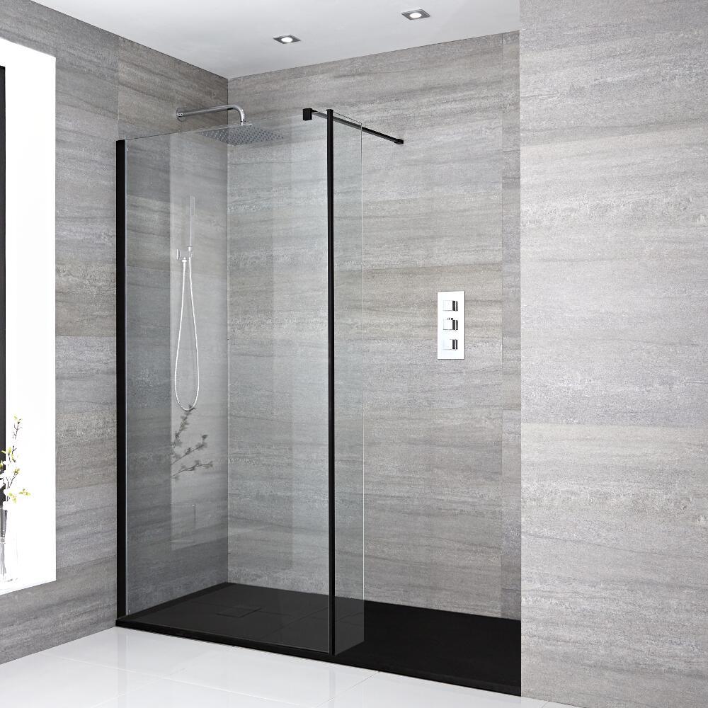 Nox Vertiefte Walk-In Dusche mit Seitenteil, Duschtasse Graphit - Wählbare Größe