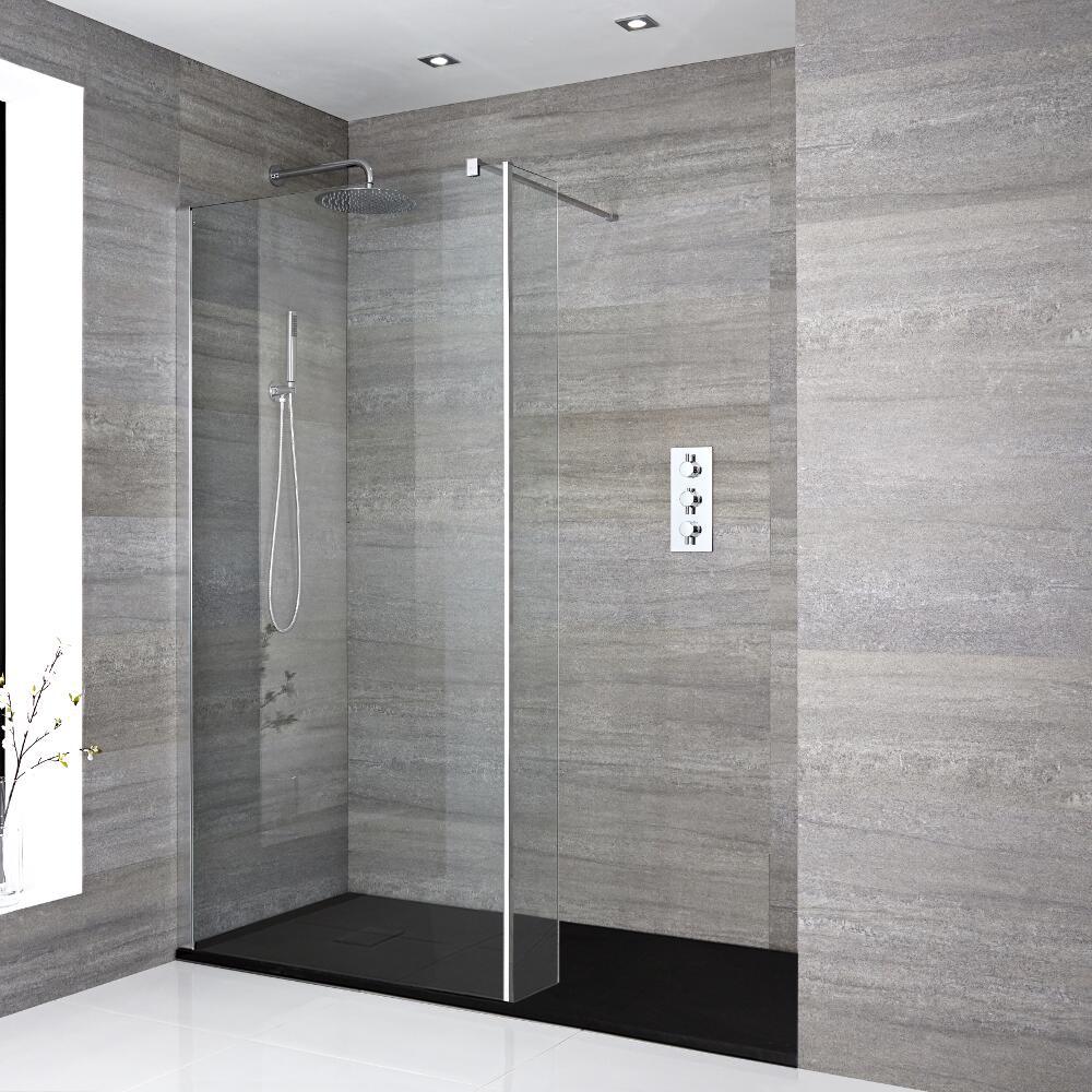 Portland Vertiefte Walk-In Dusche mit Seitenteil, Duschtasse - Wählbare Größe