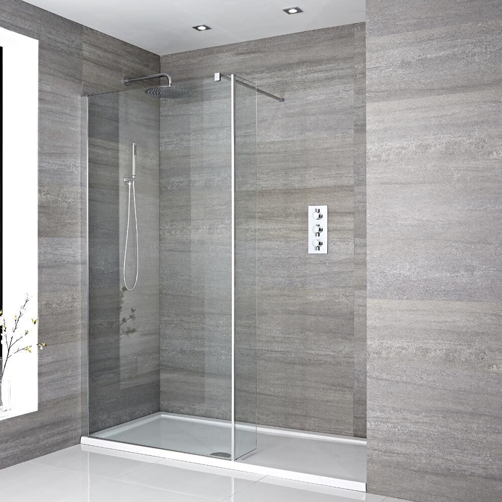 Portland Vertiefte Walk-In Dusche mit Seitenteil, Duschtasse Weiß  - Wählbare Größe