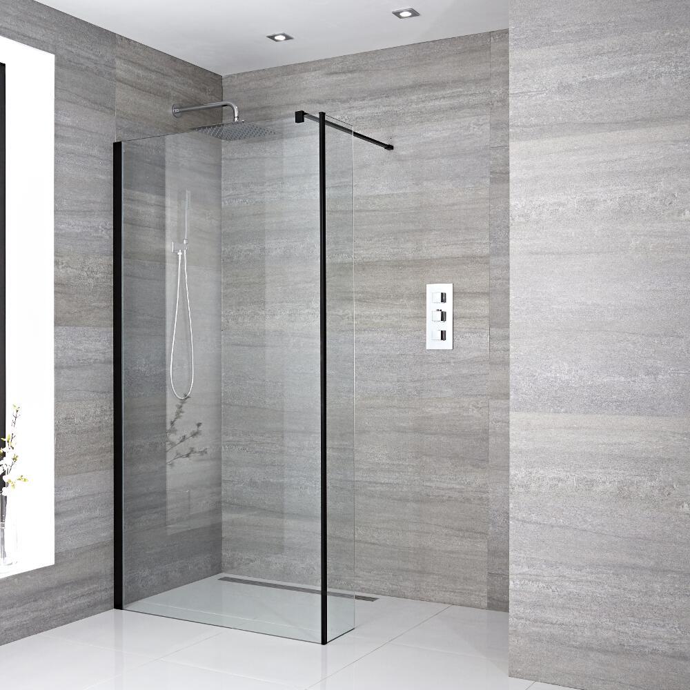 Walk-In Duschwand 1950mm x 1200mm mit Seitenteil, schwarzes Profil & wählbarer Duschrinne - Nox