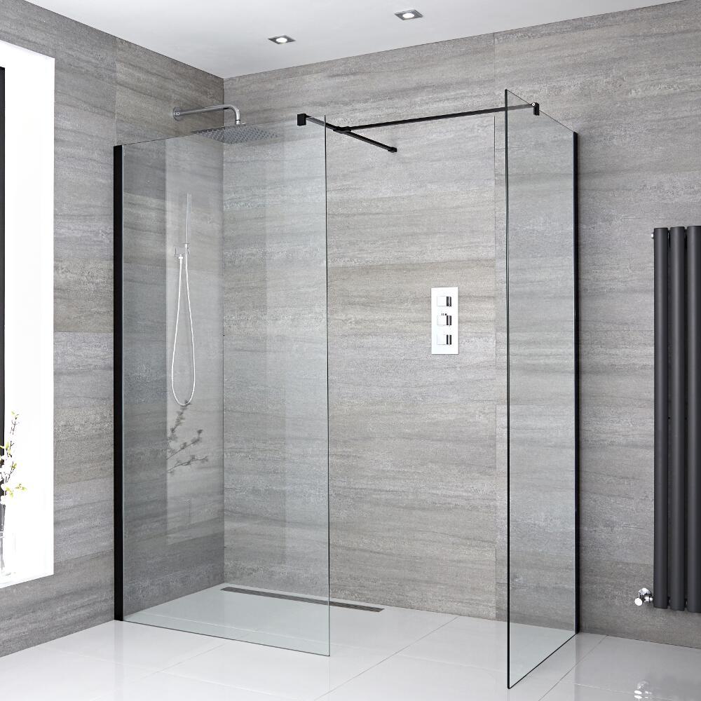 2 Walk-In Duschwände 1200mm/ 900mm inkl. schwarzes Profil & wählbare Duschrinne - Nox
