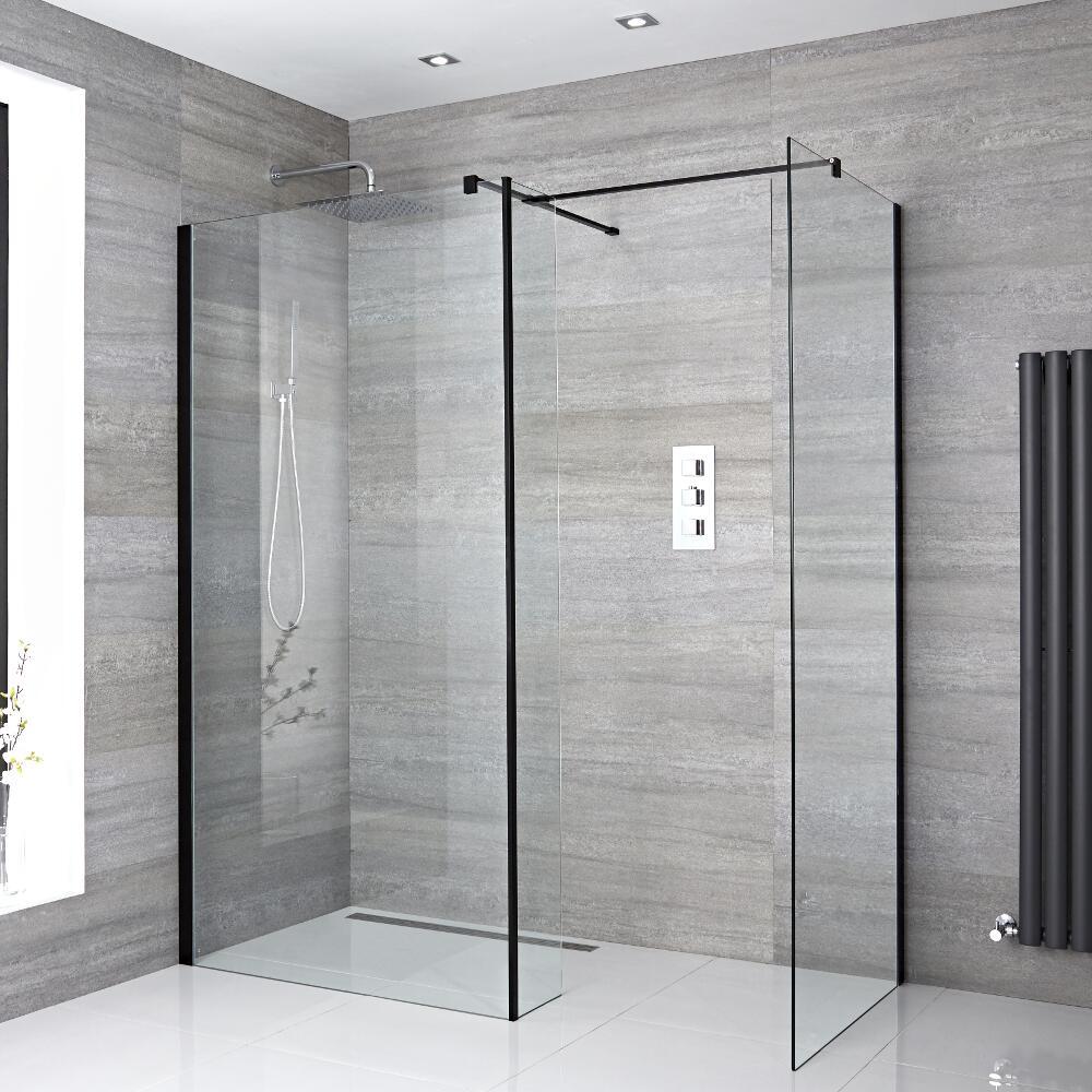 2 Walk-In Duschwände 900mm/ 1200mm inkl. Seitenteil, schwarzes Profil & wählbare Duschrinne - Nox