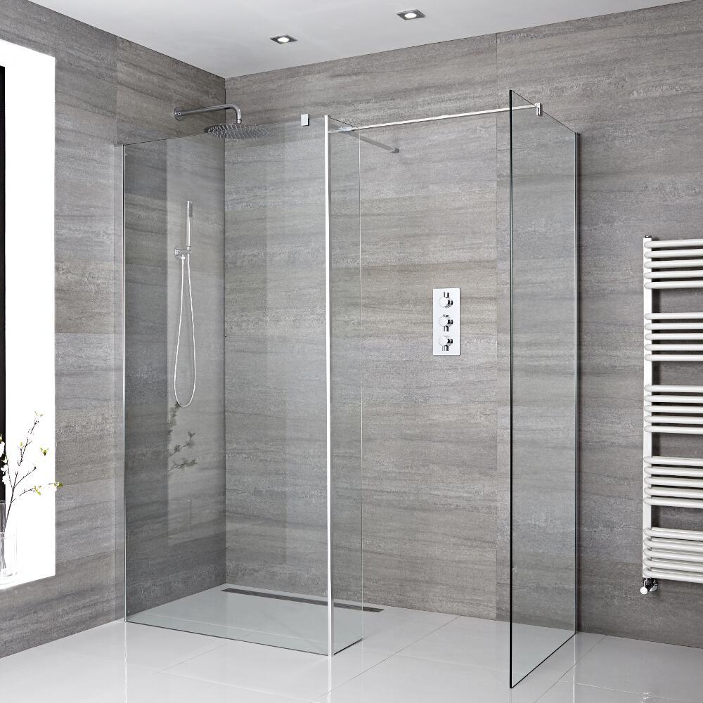 2 Walk-In Duschwände 900mm/ 1000mm inkl. Seitenteil & wählbare Duschrinne - Portland