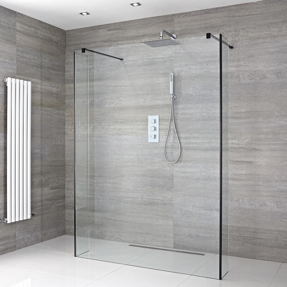 Walk-In Duschwand 1200mm inkl. 2 Seitenteile, schwarzes Profil & wählbare Duschrinne - Nox