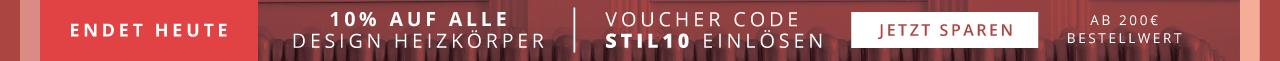 Endet heute - Nur für kurze Zeit 10% auf alle Design Heizkörper Voucher Code STIL10 einlösen Jetzt shoppen Ab 200€ Bestellwert