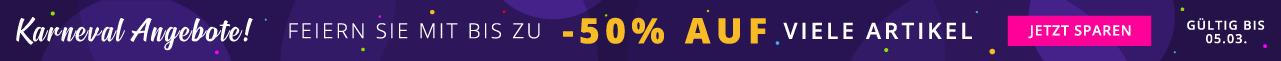 Karneval Angebote! Feiern Sie mit bis zu -50% auf viele Artikel