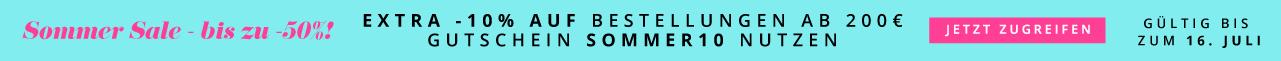 Sommer Sale - bis zu -50%! Offer > Extra -10% auf Bestellungen ab 200€ Gutschein SOMMER10 nutzen Gültig bis zum 16. Juli